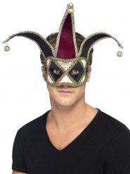 Maschera veneziana da pagliaccio  nera e argentata per adulto