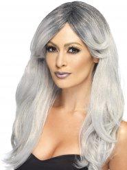 Parrucca grigia lunga con frangia scalata per donna