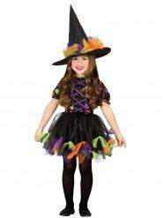 Costume da strega in tulle colorato per bambina