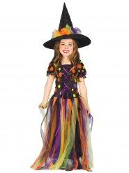 Costume da strega multicolore per bambina Halloween