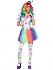 Costume clown arcobaleno per donna