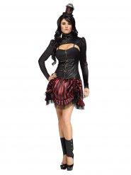 Costume steampunk rosso e nero per Donna