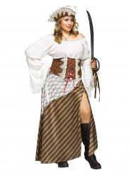 Costume da piratessa bianco e marrone per donna