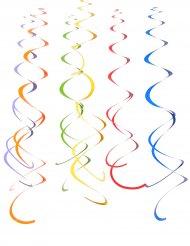 12 decorazioni a spirale da appendere multicolore 55 cm
