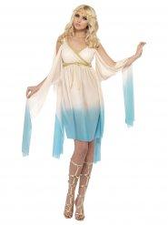Costume da antica greca color azzurro e crema per donna