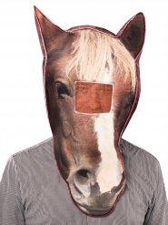 Maschera da cavallo con effetto fotorealistico marrone e bianca