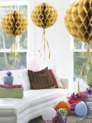 Sfera decorativa dorata a nido d