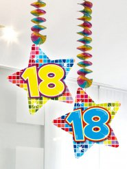 2 Spirali con stella 18 anni multicolore