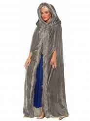 Mantello con finta pelliccia grigia per donna