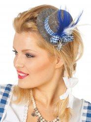 Mini cappello bavarese grigio e blu con piume donna