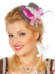 Mini cappello bavarese grigio e rosa donna