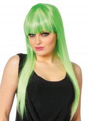 Parrucca verde capelli lunghi con frangia