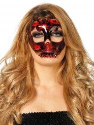 Maschera scheletro rossa e nera con pizzi  per Halloween