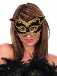 Maschera da gatto nero e oro per adulto