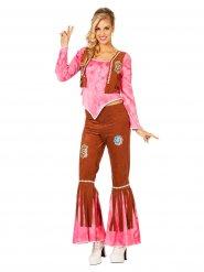Costume Hippy donna marrone e rosa
