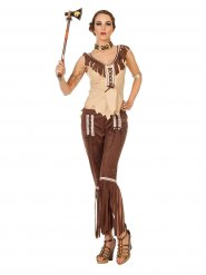 Costume da indiana marrone e beige per donna