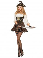 Costume da pirata chic marrone per donna