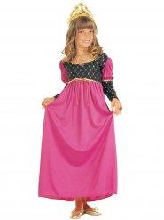 Costume regina medievale rosa per bambina