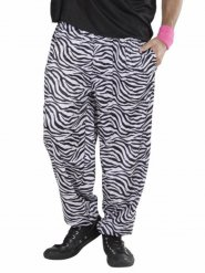 Pantaloni zebrati anni 80 bianchi e neri per adulto