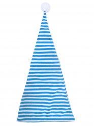 Cappello bianco e blu con pompon per adulto