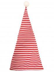 Cappello da notte rosso e bianco con pompom adulto