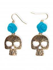 Orecchini con teschio e fiore azzurro per donna