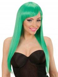 Parrucca verde lunga capelli lisci per adulto