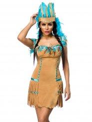 Costume da indiana beige e blu per donna