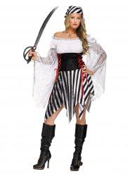 Costume da pirata bianco e nero per donna
