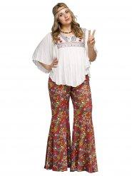 Pantalone da Hippie rosso con fiori colorati