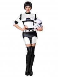 Costume da guerriera dello spazio bianco e nero per donna