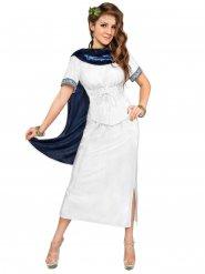 Costume da dea greca bianco e blu per donna