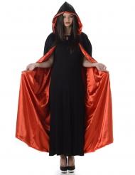 Mantello con cappuccio rosso e nero halloween adulto