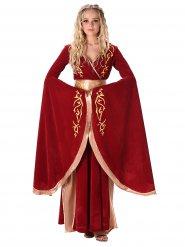 Costume medievale rosso e oro per donna