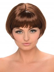 Parrucca castana corta con frangetta per donna