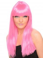 Parrucca lunga con frangia rosa fluo