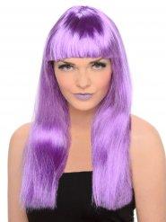 Parrucca viola lunga con frangia per donna