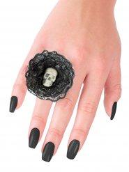 Image of Anello con teschio bianco e nero halloween