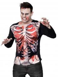 Maglietta da zombie con scheletro Halloween