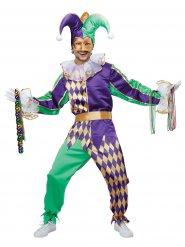 Costume da giullare verde e viola per uomo
