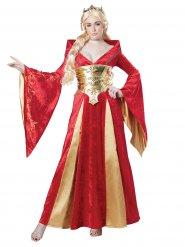Costume da regina medievale in rosso per donna