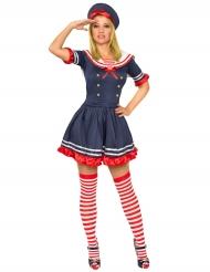 Costume da marinaio blu e rosso per donna