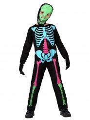 Costume da scheletro multicolore per bambino Halloween