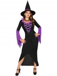 Costume da strega nera e viola per halloween
