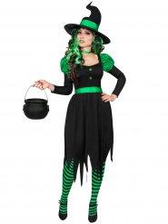 Costume da strega nero e verde per donna halloween