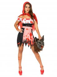 Costume da cappuccetto rosso zombie per donna Halloween