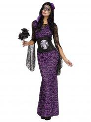 Costume viola con teschi halloween donna