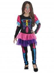 Costume da scheletro colorato fluo per bambina Halloween