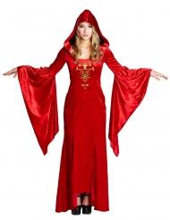Costume dama medievale rosso per donna