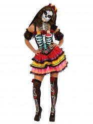 Costume Dia de los muertos multicolore per donna halloween